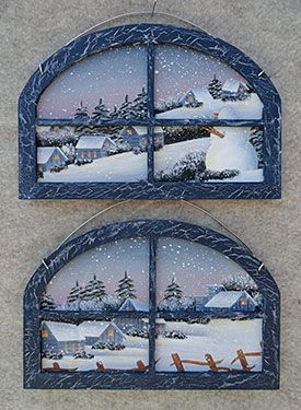 Short Oval Window by Debby Forshey Choma from the book A Taste of Seasons. Book and wood ornaments available at www.ArtistsClub.com