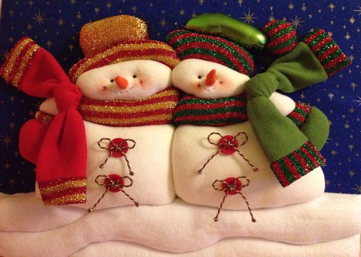 Cuadro Navideño PATCHWORK sin aguja. Mi primera creación muñecos de nieve