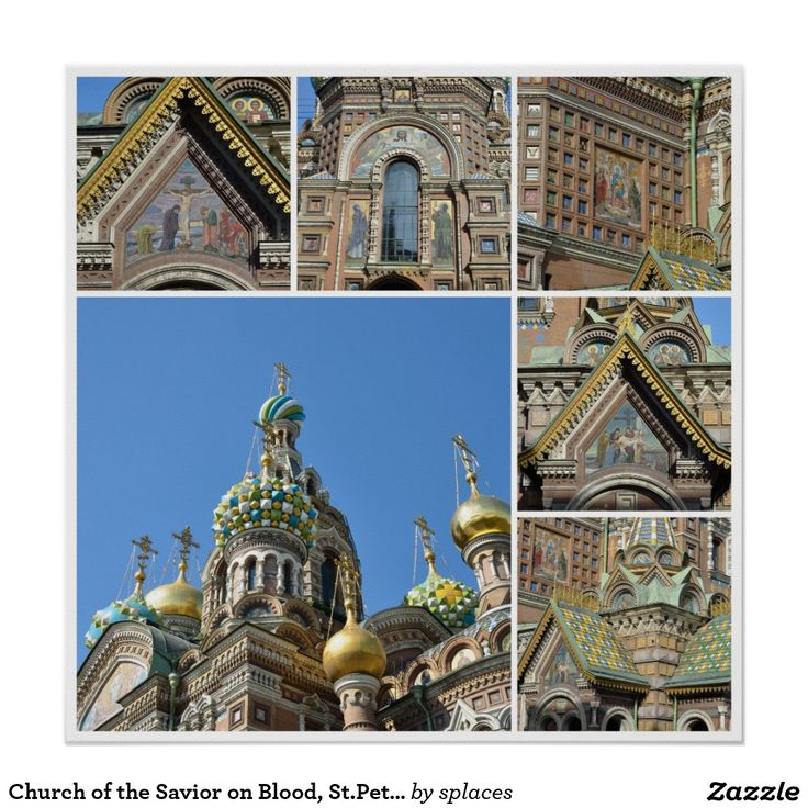 Church of the Savior on Blood in Saint Petersburg, Russia. Collection (collage) of images Poster
