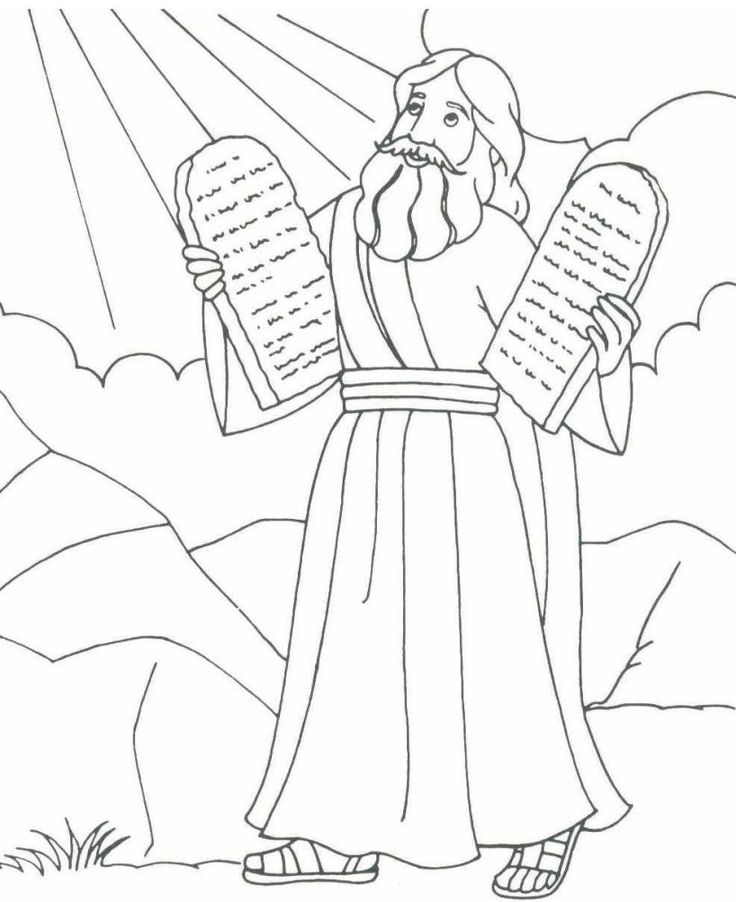 Moses Holding The Stone Tablets Of 10 Commandments Exodus 20 Deuteronomy 5 Coloring Pages To PrintColoring