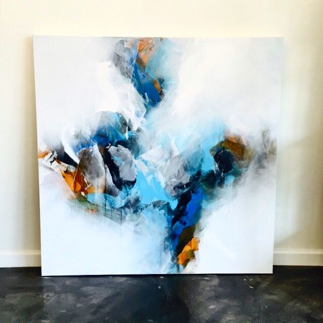 Blue abstract sky painting by Brittany lee howard Brittanyleeart.com