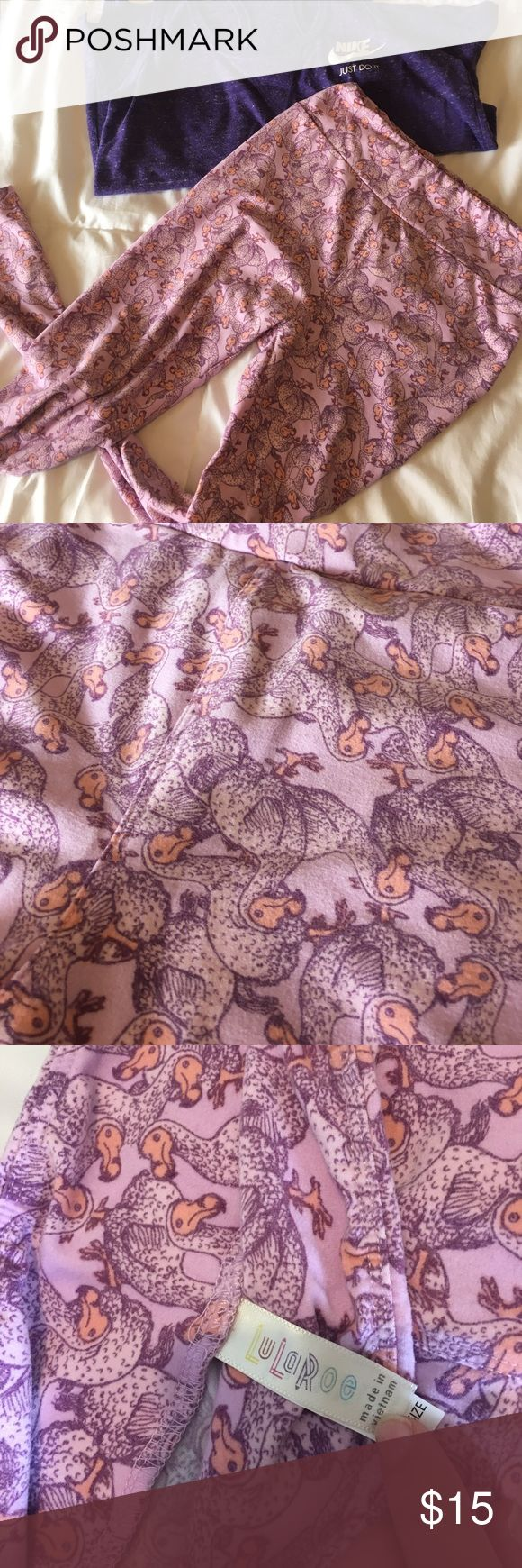 LulaRoe Dodo Bird Leggings *Rare Print* Buttery soft! Worn twice. One size (they fit me at 120 lbs and then at the end of my pregnancy if that says anything haha) LuLaRoe Pants Leggings