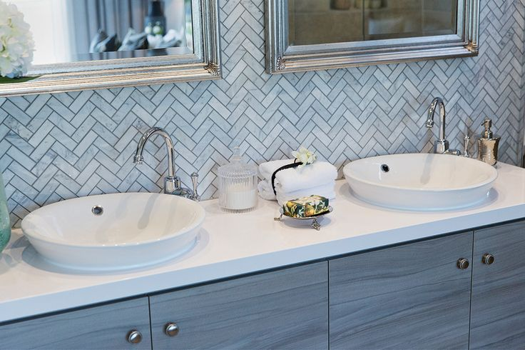 Classic Hamptons World of Style master ensuite on display in the Vancouver.