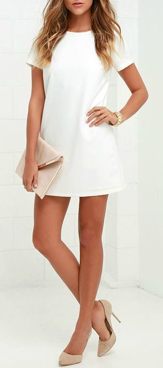 Shimmy, shuffle, and shake in the Shift and Shout Ivory Shift Dress, because you know you look so good! Woven poly fabric shapes a rounded neckline atop a darted bodice with short sleeves. The shift silhouette falls into a flirty, leg-baring length. #lovelulus