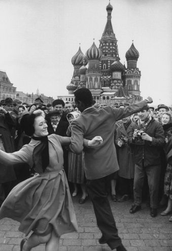A celebration in Red Square in honor of cosmonaut Yuri Gagarin, the first human in space, 1961.
