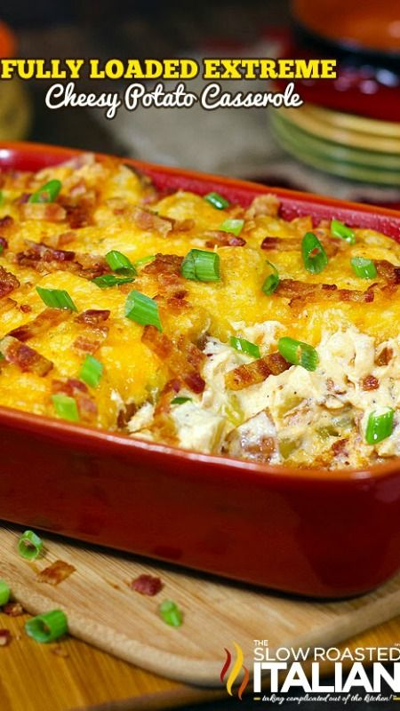 Fully Loaded Extreme Cheesy Potato Casserole ~ Cheesy potato bake kicked up about 12 notches. 3 cheeses, sour cream and bacon come together in this Fully Loaded Extreme Cheesy Potato Casserole to tantalize your taste buds. Rich, creamy and packed with ooey gooey cheese this simple recipe is a keeper!