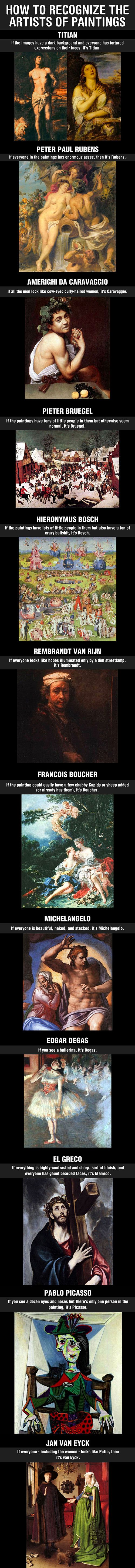 The best way to recognize the artists of paintings… I take AP Art History and this is actually really accurate