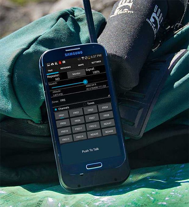 Beartooth. - turns your Android or iOS cell phone into a two-way radio enabling calls, texting, and geo-location from remote, off-grid locations. Production to begin in 2015.