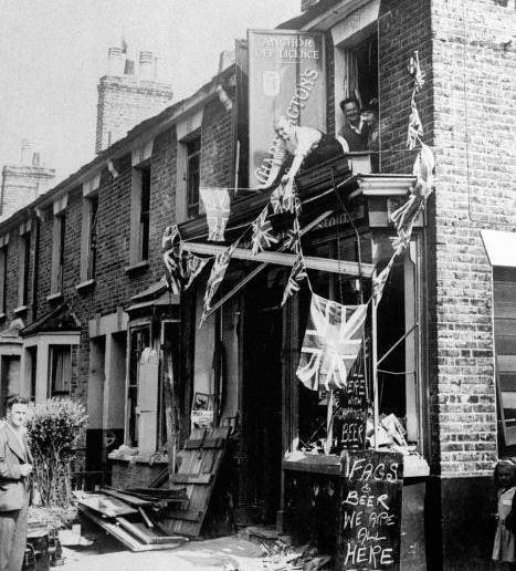 The Bulldog spirit. A shop damaged during an air raid is open for business as usual the next day. 1941. #oldlondon