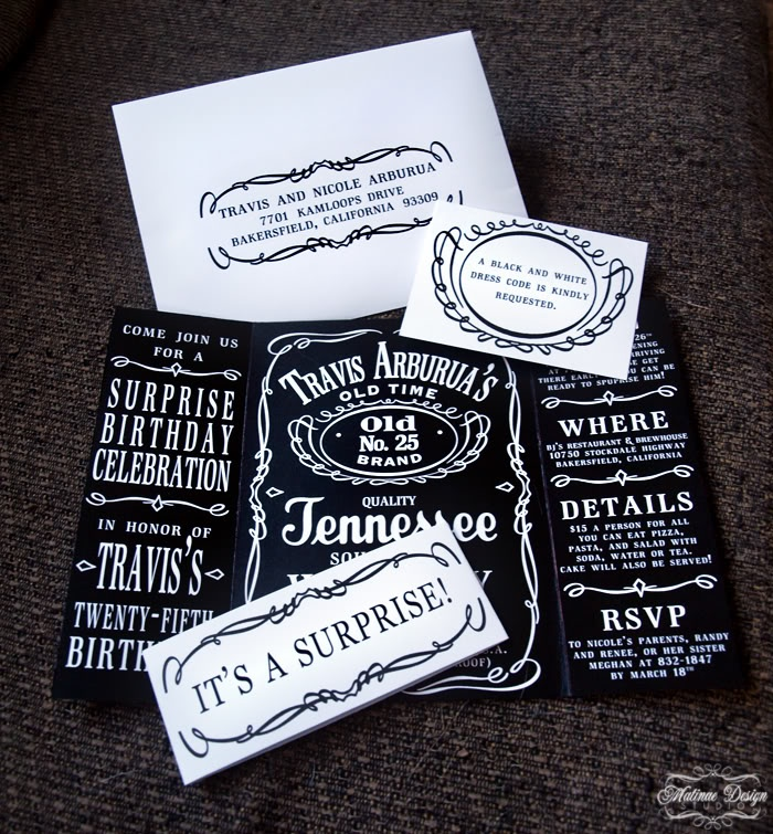 Jack Daniels Invitations. i want to do this for my birthday
