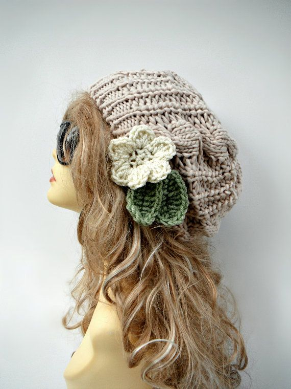 Knitting Pattern For Beanie With Flower : Slouchy Knit Hat With Flower Womens Knit by ...