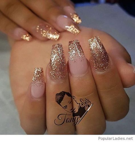 long gel nails with gold glitter