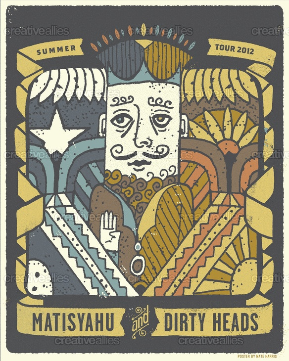 By Nate Harris for the contest to design a tour poster for the Matisyahu & The Dirty Heads 2012 North American Summer Tour