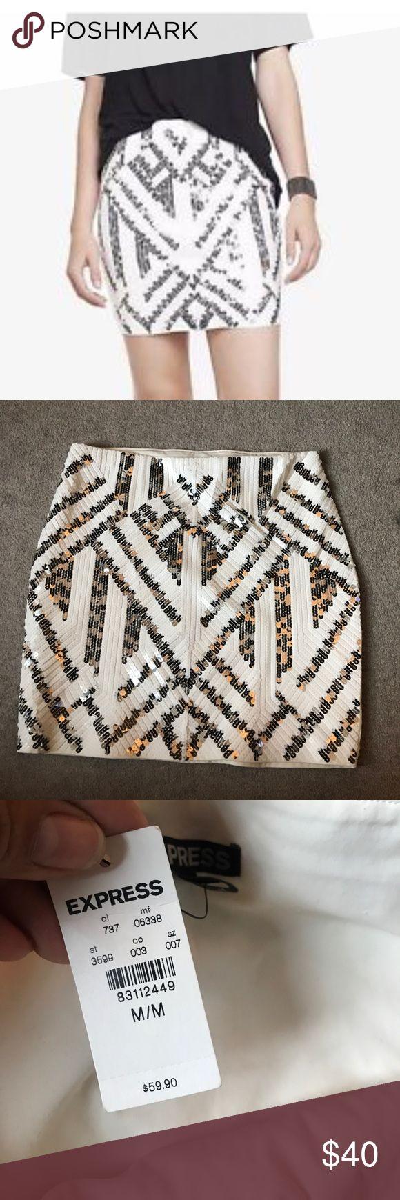 Express white aztec mini skirt Mini white aztec sequin skirt. Never worn, really cute and flattering! Express Skirts Mini