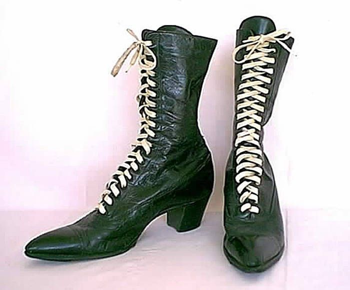 Vintage 1910 to 1920s Suffragist Black High Top Boots with White Lacing  and Stacked High Heel by NouveauOrleans on Etsy