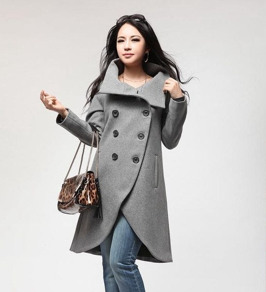 Grey Coat Irregular Sweep Long Sleeve Wool Winter Coat Jacket for Women - Cusom Made. via Etsy.