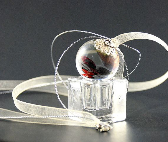Orb Butterfly pendant handmade jewelry clear by HotLineJewelry