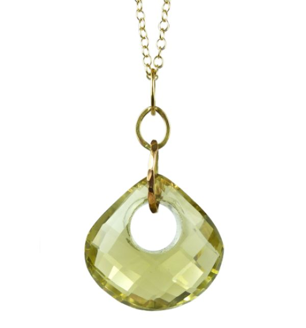 Lemon Quartz Gold Pendant