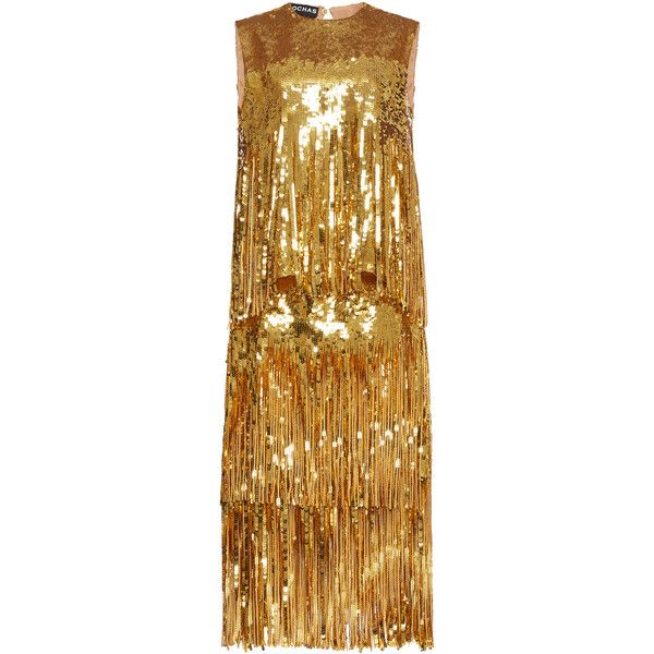 Rochas Sleeveless Sequin Fringe Dress (49,650 CNY) ❤ liked on Polyvore featuring dresses, rochas, gold, brown sequin dress, sequin fringe dress, gold sequin dress, sleeveless dress and crew neck dress