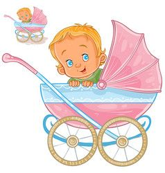 Set of vector clip art illustrations of little kids and baby carriage, stroller. Download a Free Preview or High Quality Adobe Illustrator Ai, EPS, PDF and High Resolution JPEG versions.