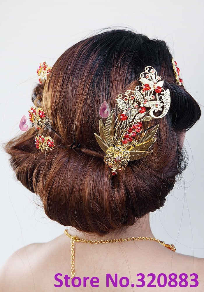 Chinese phoenix pin Gold with Red Bridal hair pin Party flower wedding Hair accessory TH060