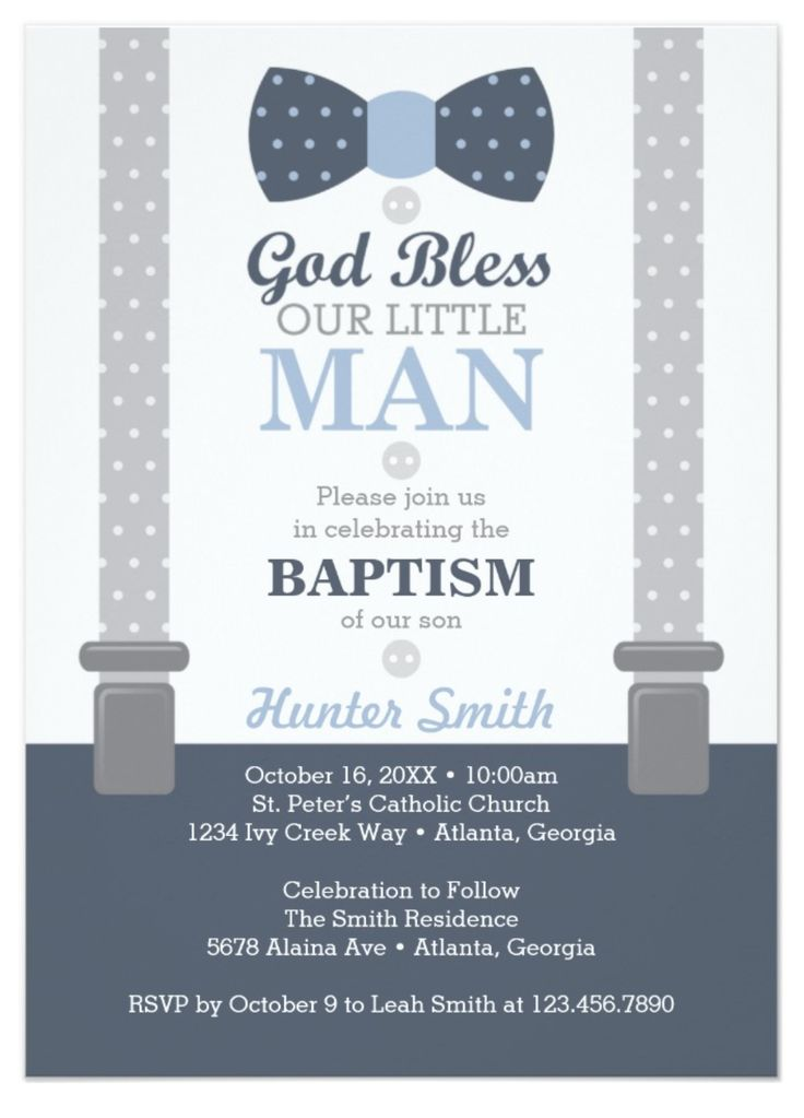 Little Man Baptism Invitation, Baptism Invitation for a Boy, Blue and Gray