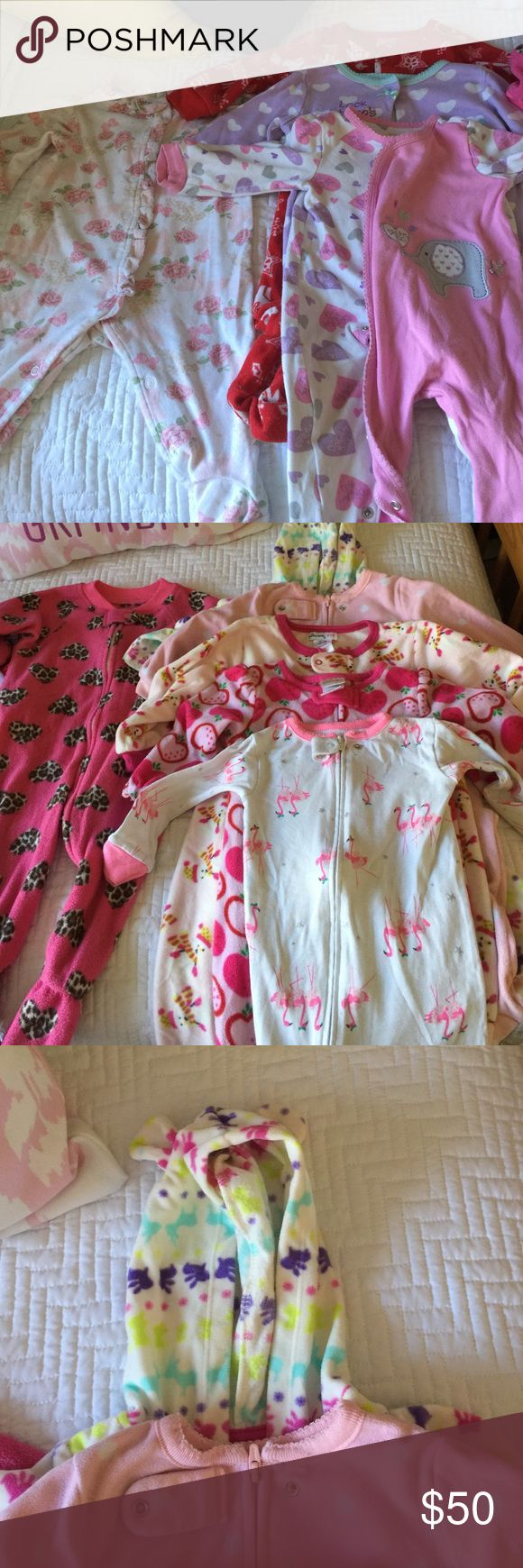 Baby girl footie Pj's 6-9, 9, 9-12 & 12 months Baby girl footie Pajamas 6-9, 9, 9-12 & 12 months. Only one at 6-9 months, 3 at 9 months, 1 @ 9-12 months & 5 at 12 months. You Must Choose 1 or 2+ to bundle. Not selling this as a whole. I will make a separate listing for the one you choose. Many brand names. All babies items for sale belong to my granddaughter. I'm selling to put the proceeds in her savings account. Look at all the other items I'm selling for her! Thanks! One Pieces