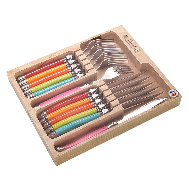 Laguiole - Spring Debutante Multicoloured Cutlery Set 12pce | Peter's of Kensington