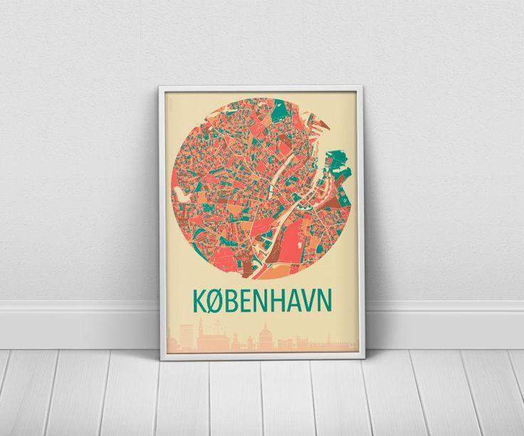 Plakater København - bykort over København i 9 farvekombinationer