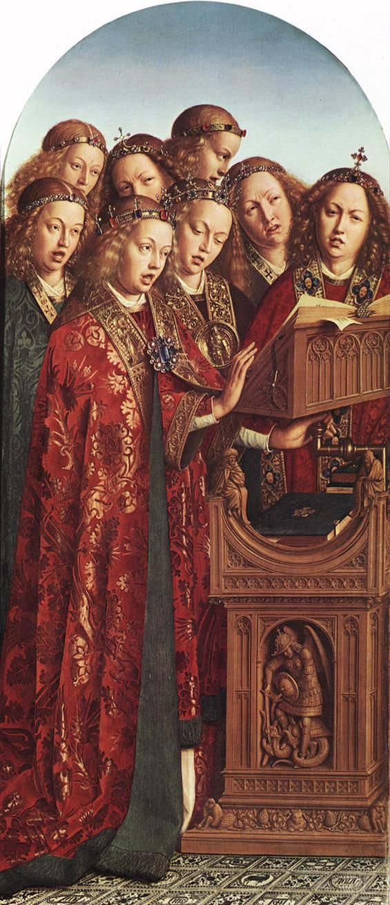 Jan van Eyck. The Ghent Altarpiece Singing Angels (1427-29). Oil on wood, 164,5 x 71,5 cm. Cathedral of St Bavo, Ghent