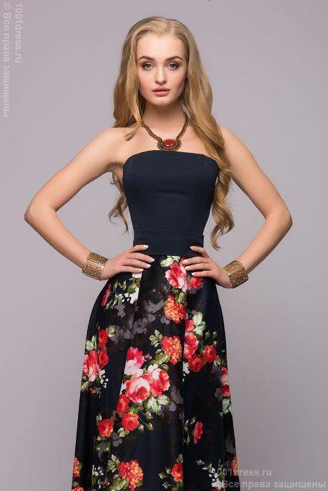Темно-синее платье-бюстье с разноуровневой юбкой с цветочным принтом