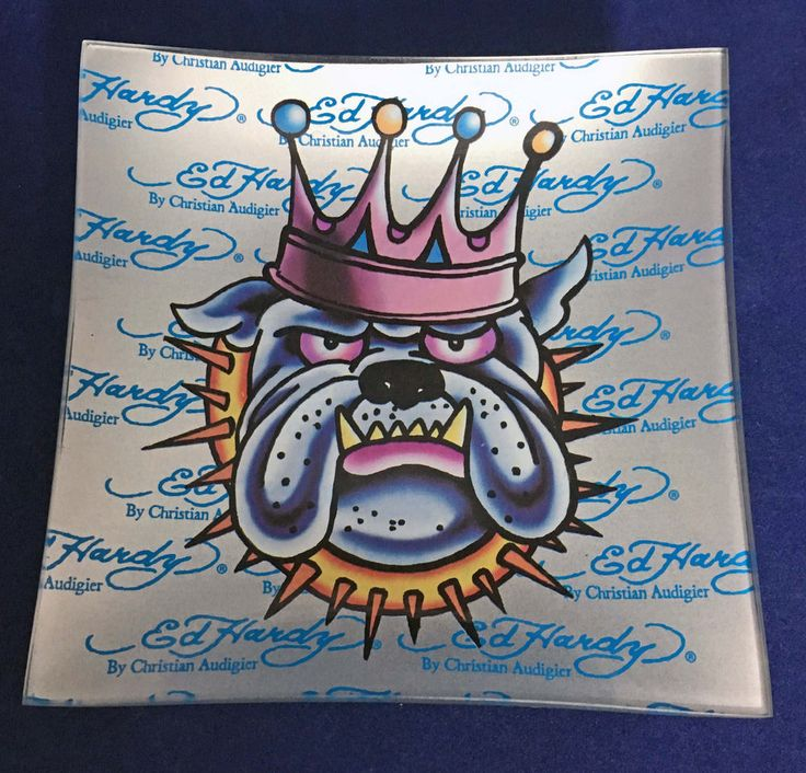 Christian Audigier Ed Hardy King Dog Glass Square Plate Single for Pillar Candle #EdHardy