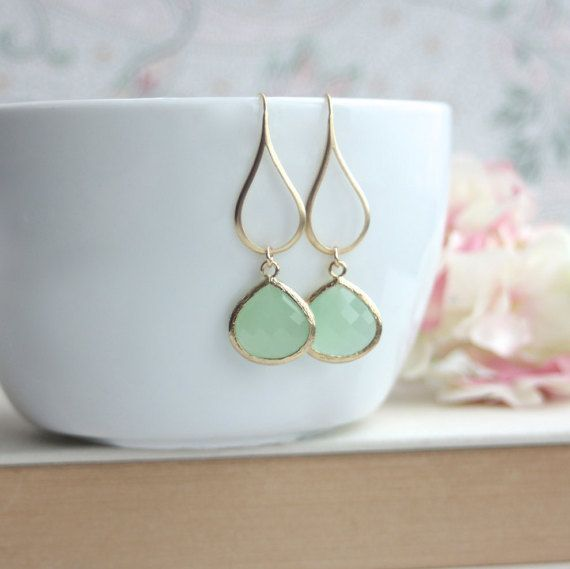 Mint Green Earrings Green Glass Dangle Earrings. Mint by Marolsha