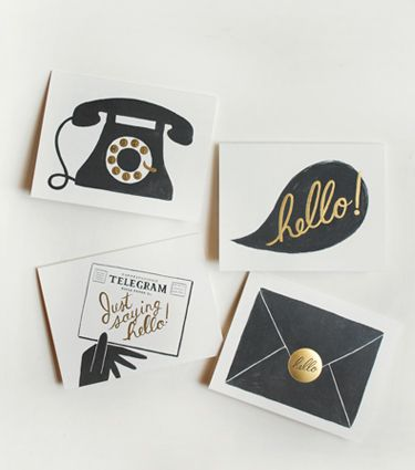 Rifle Paper Co.'s gold foil notecards: Graphic Design, Assorted Hello, Idea, Hello Cards, Illustration, Rifle Paper Co, Rifles, Stationery