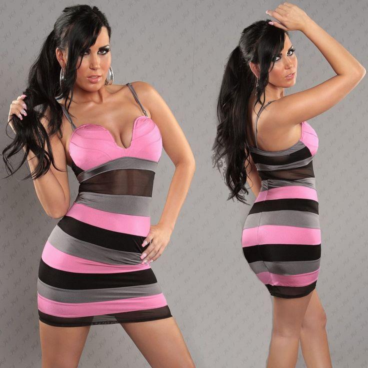 Rózsaszín fekete csíkos ruha