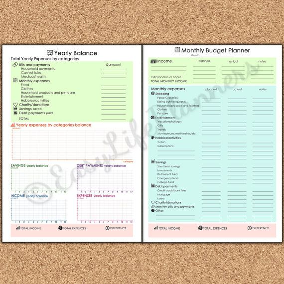 Monthly Budget Planner Printable Letter Size Yearly