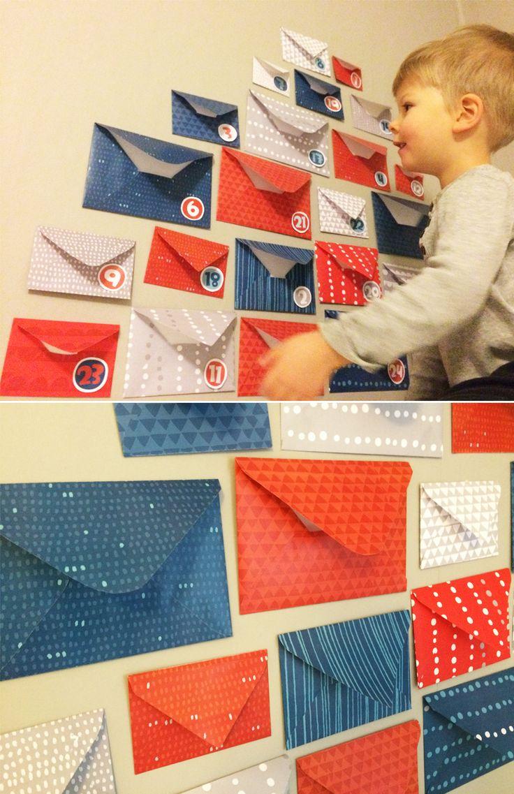 Kirjekuorijoulukalenteri | lasten | lapset | askartelu | joulu | käsityöt | kädentaidot | koti | idea | joulukalenteri | kalenteri | DIY ideas | kids | children | crafts | christmas | calendar | home | Pikku Kakkonen