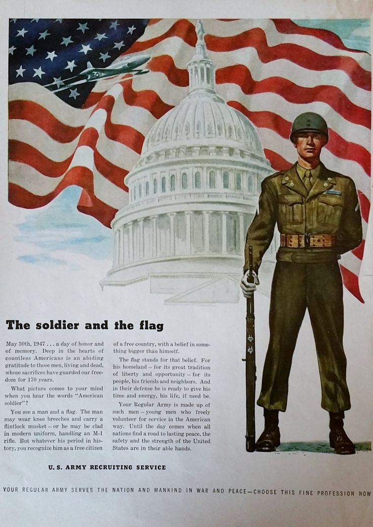 1940s U.S. Army Recruiting Magazine Advertisement, Army Flag, Vintage Magazine Ads Vintage Print Ad, Army Recruiting, by Inkart on Etsy