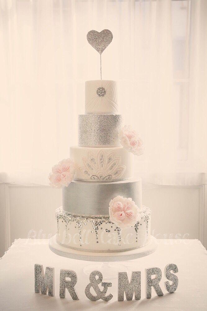Bluebell Cake House Wedding Cake #glitter #roses #gatsby #silver #grey #wedding #cake #fivetier  www.facebook.com/bluebellcakehouse   Photography by   www.rocksaltphotography.com