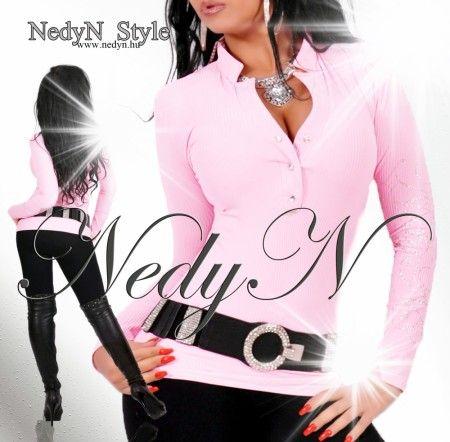 NedyN   világos rózsaszín  bordás női felső
