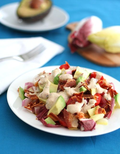 Endive Salad with Chipotle Ranch Dressing | Break out of your salad rut with some California Endive.  It makes a great base for your favourite salad toppings, like avocado, bacon and chipotle ranch dressing! | From: alldayidreamaboutfood.com