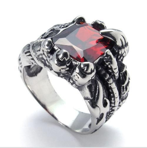 Aliexpress.com : Buy New Fashion jewelry 316L Titanium Stainless Steel Charm Red Stone Claw Ring Wholesale FREE SHIPPING 073875 from Reliable jewelry wedding ring suppliers on Sj-Jewelry