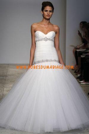 Kenneth Pool robe de mariée bustier longue sirène pas cher décorée de cristal tulle