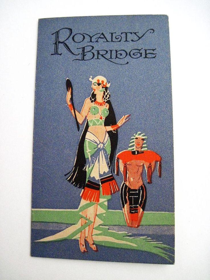 "Vintage Art Deco Bridge Tally ""Royalty Bridge"" w/ Egypt Queen Cleopatra  *"