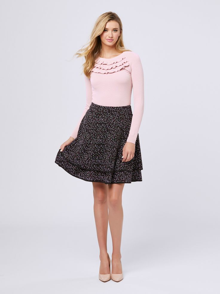 Kensington Jumper | Soft Rose | Jumper Ada Spot Skirt | Black& Multi |Skirt