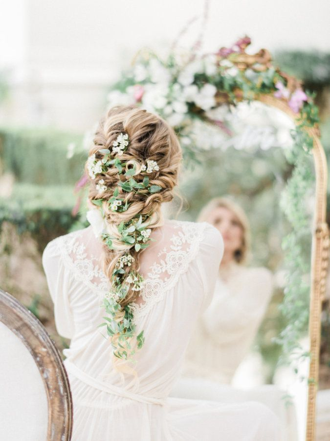 Romantic spring floral accented braid: http://www.stylemepretty.com/california-weddings/pasadena/2016/07/06/trending-floral-filled-braids/ | Photography: Honey Honey Photography - http://www.hoooney.com/