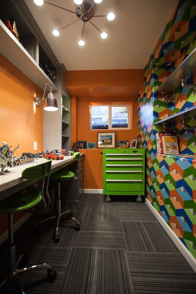рабочие столы в детской для двоих мальчиков