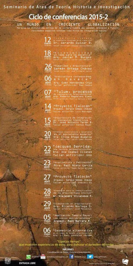 """Nuestra agenda #ComunidadTAJR Recuerden para la próxima semana el 29 de Abril 17:00 hrs.: """"Iluminación en Arquitectura"""" con el Arq. Ricardo Noriega S. Taller anfitrión #JoseRevueltas en Ciclo de Conferencias 2015-2 del Seminario del Área de Teoría FA UNAM e Investigación entrada libre #SoyFA #UNAM #OrgulloUNAM"""
