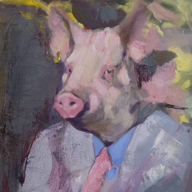 swine. art. oil painting.