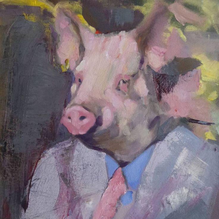 swine. art. oil painting.